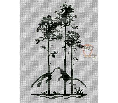 Pine trees Cross Stitch chart